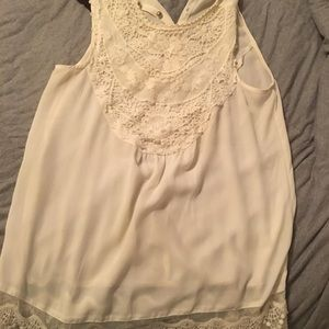 White dress tank top with lace detail